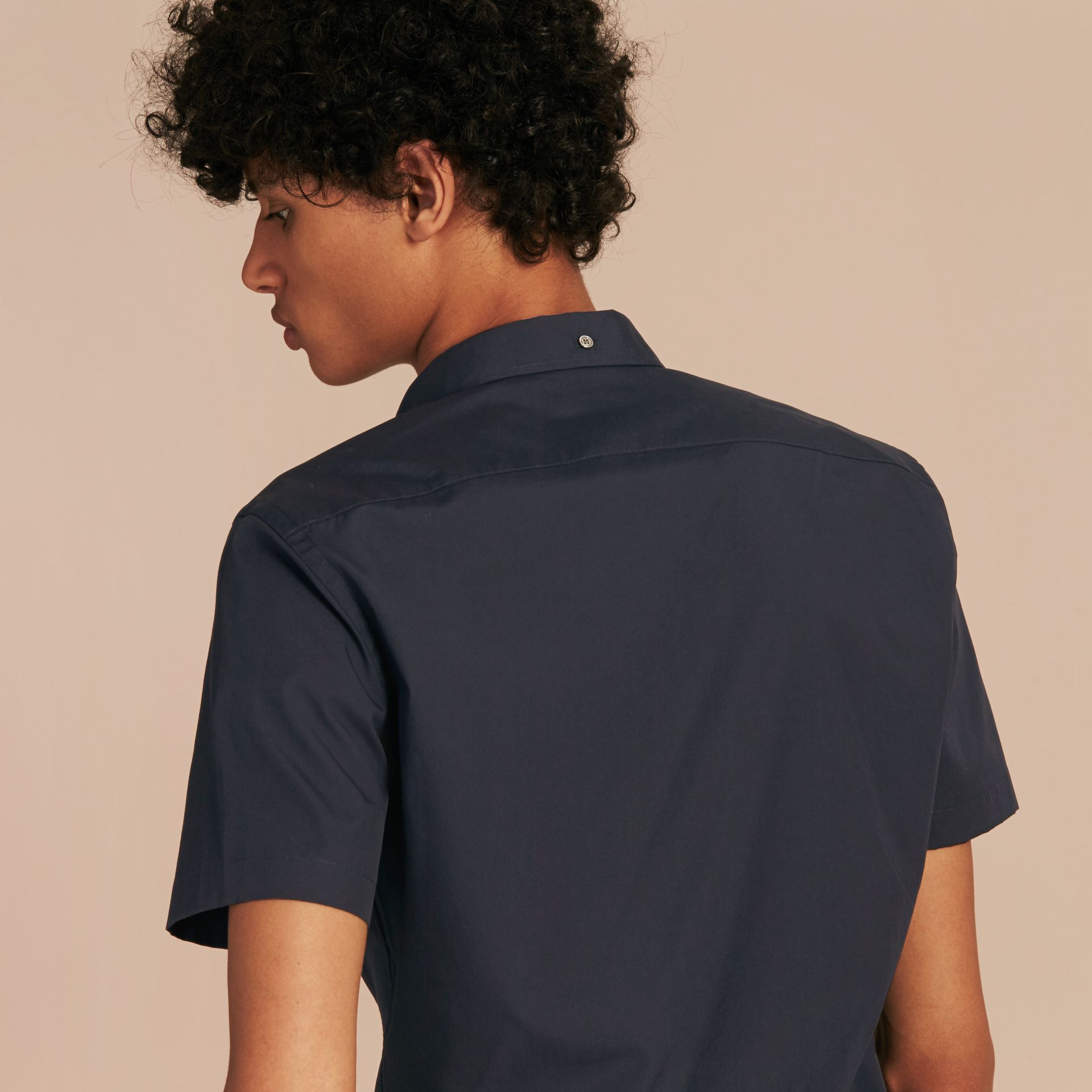 Short-sleeved Stretch Cotton Poplin Shirt in Navy - Men | Burberry Singapore - gallery image 3