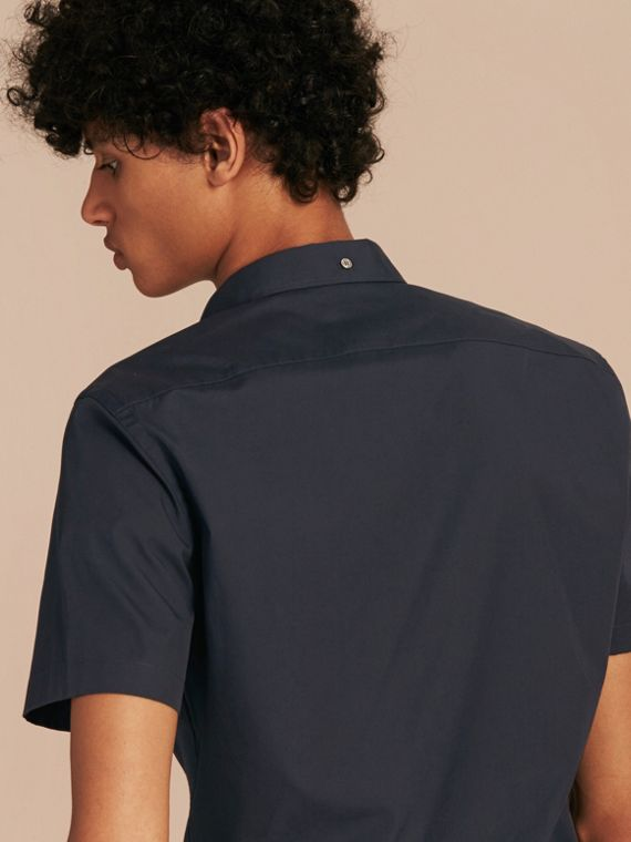 Short-sleeved Stretch Cotton Poplin Shirt in Navy - Men | Burberry Singapore - cell image 2