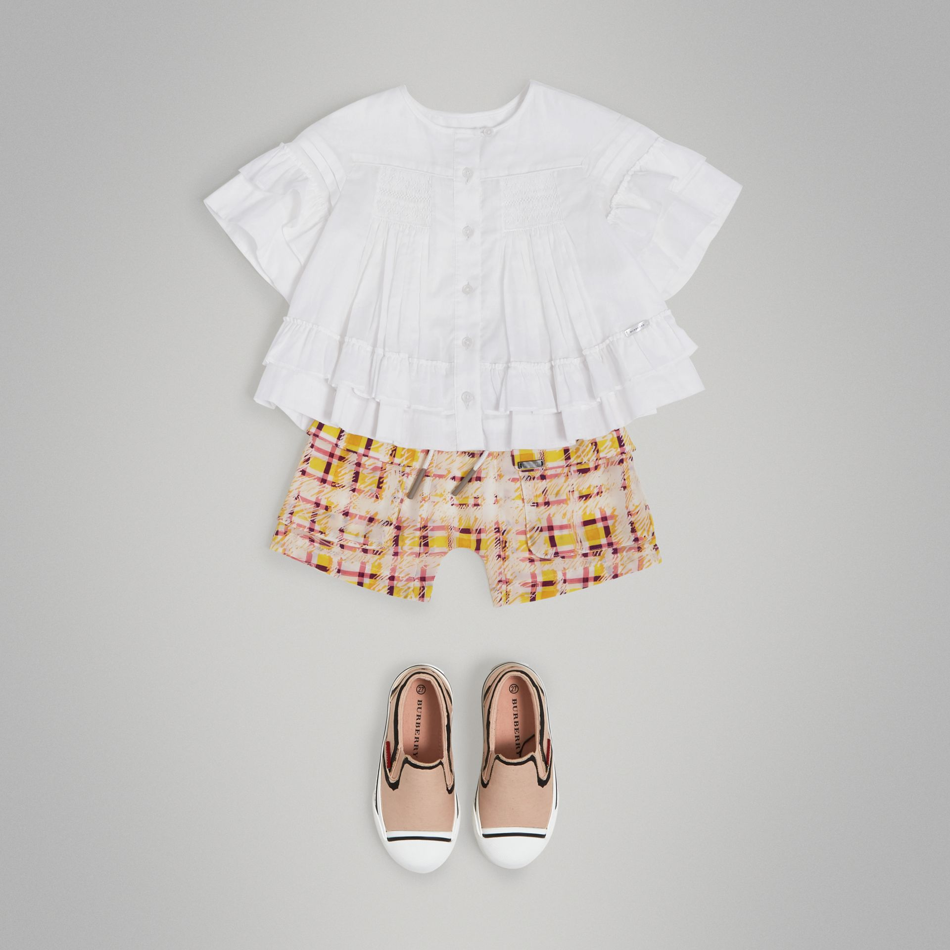 Smocked Cotton Shirt in White - Girl | Burberry - gallery image 2