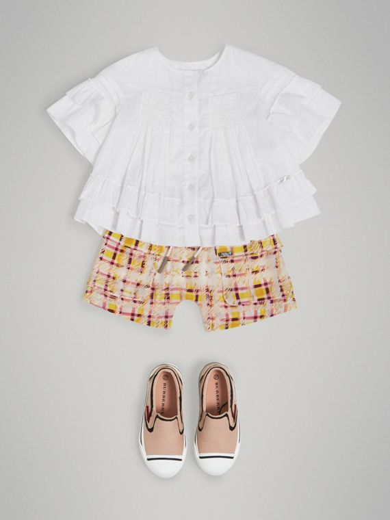Smocked Cotton Shirt in White - Girl | Burberry United Kingdom - cell image 2