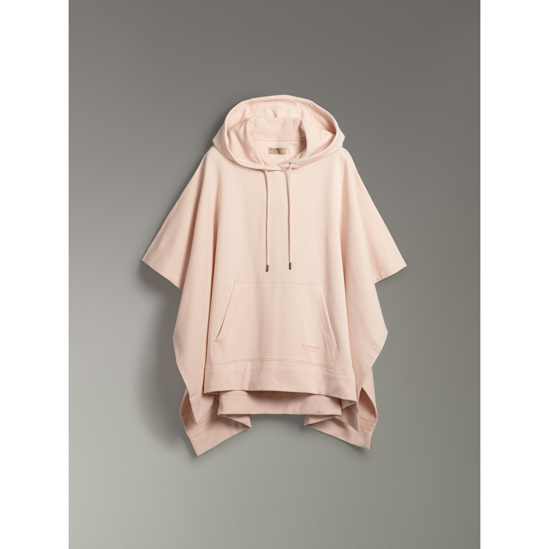 Cotton Jersey Hooded Cape in Pale Pink - Women | Burberry United Kingdom - gallery image 3