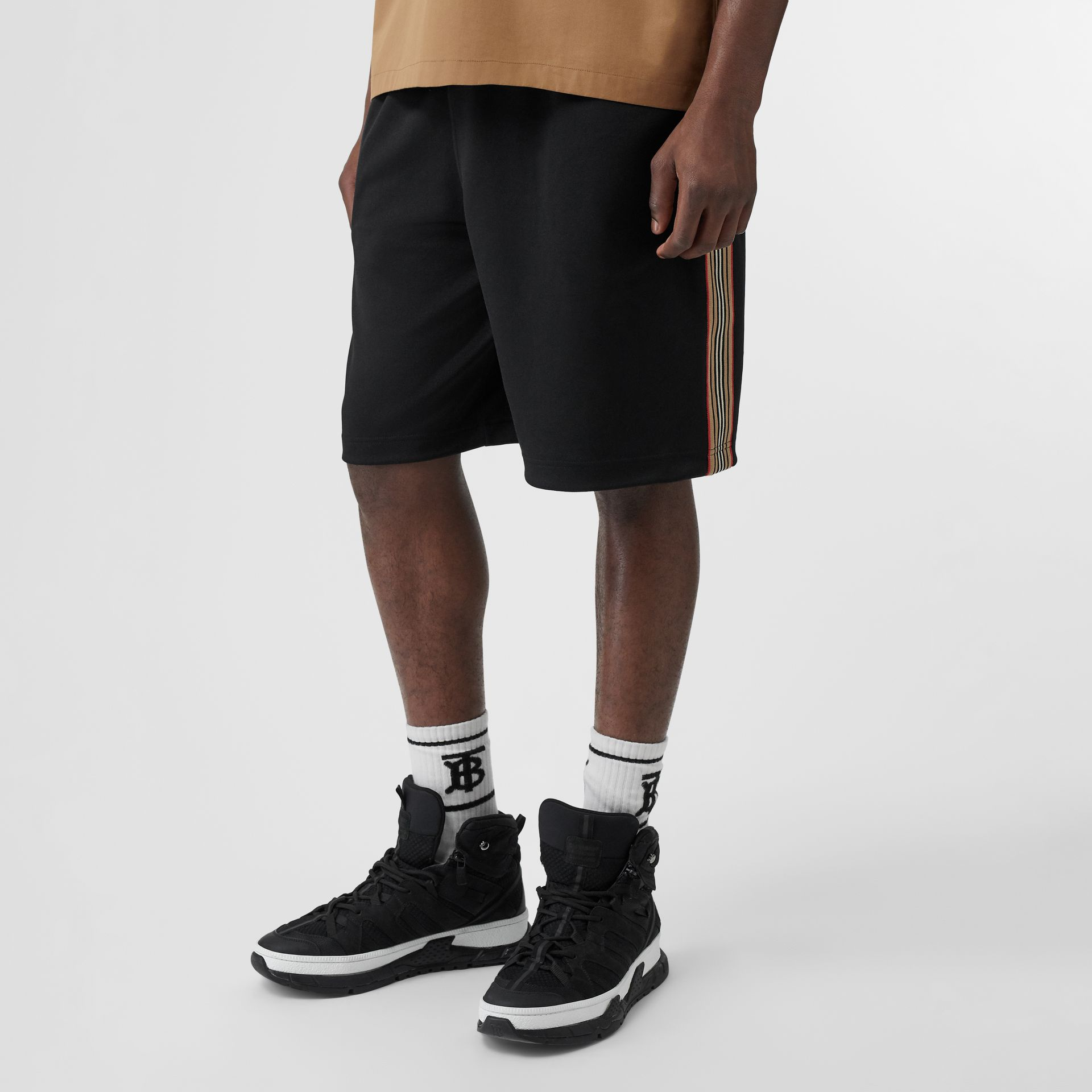 Icon Stripe Detail Cotton Blend Shorts in Black - Men | Burberry - gallery image 4