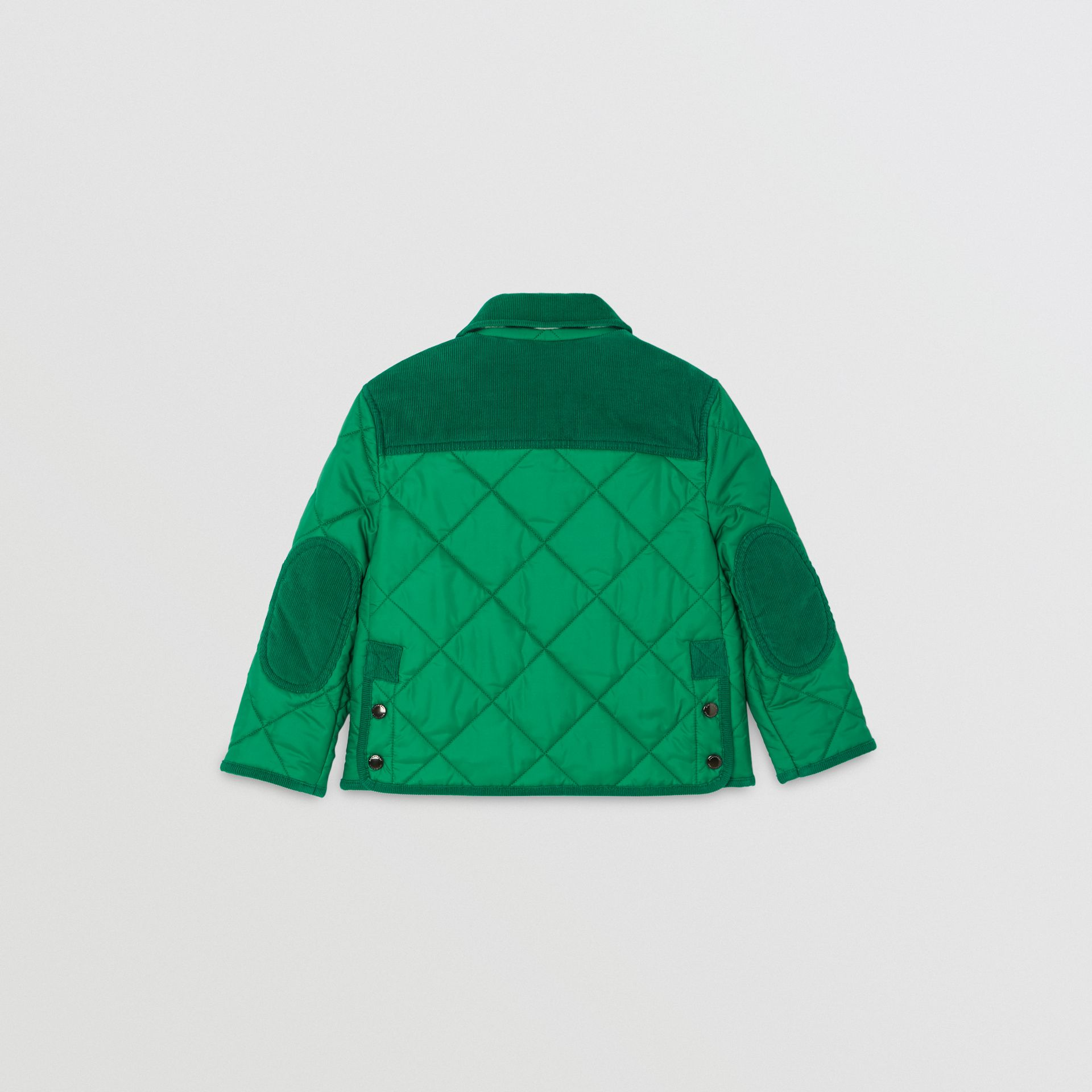 Corduroy Trim Diamond Quilted Jacket in Vibrant Green | Burberry - gallery image 4