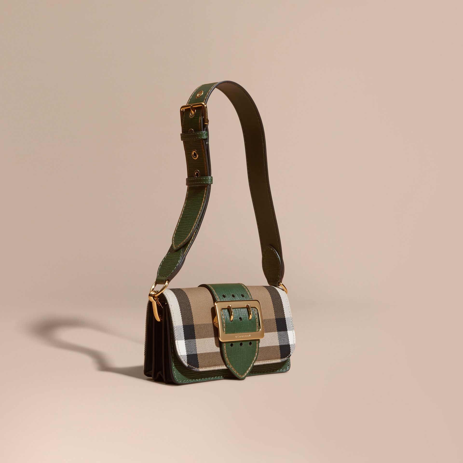 Kelly green/kelly green The Small Buckle Bag in House Check and Leather Kelly Green/kelly Green - gallery image 1