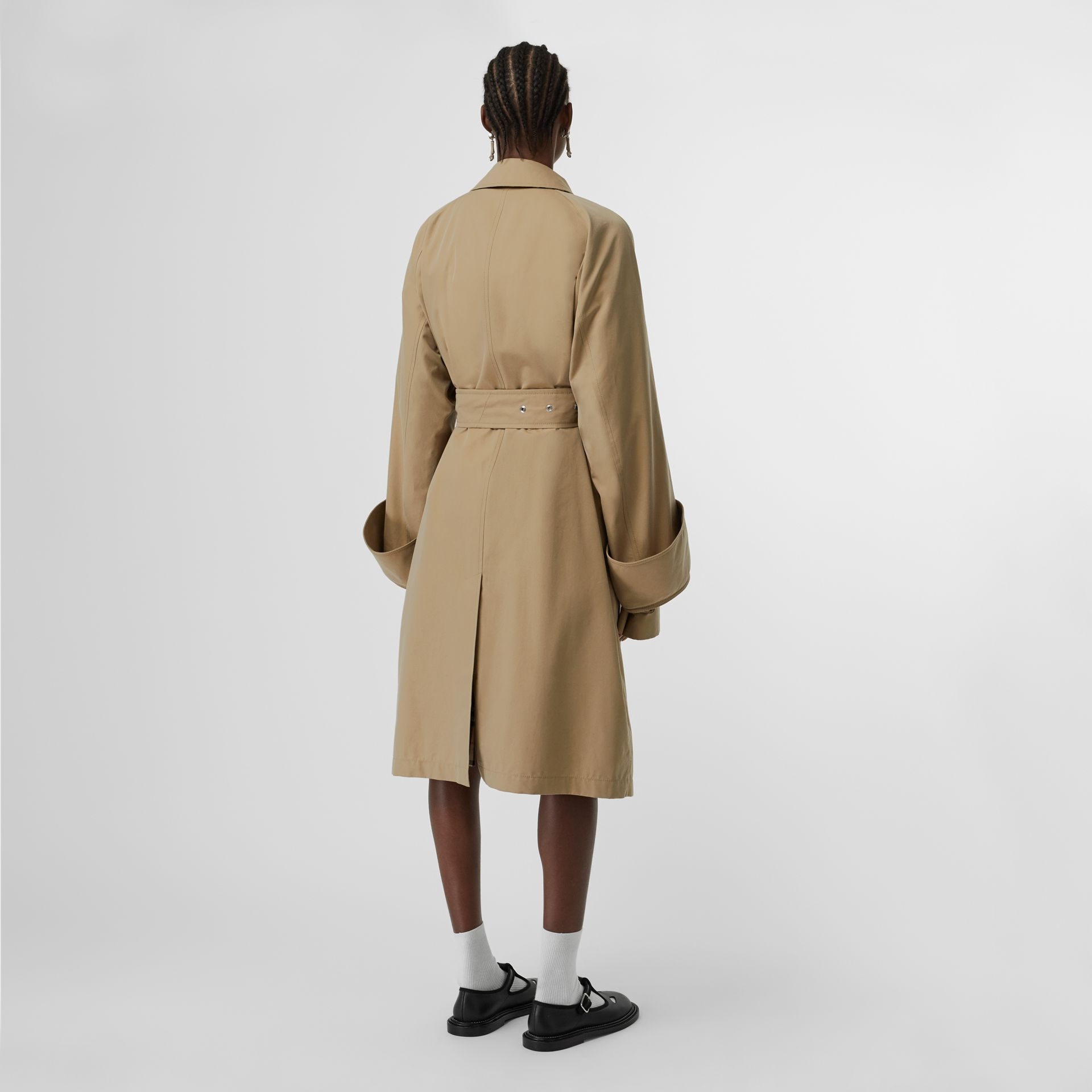 Exaggerated Cuff Cotton Gabardine Car Coat in Pale Honey - Women | Burberry - gallery image 2