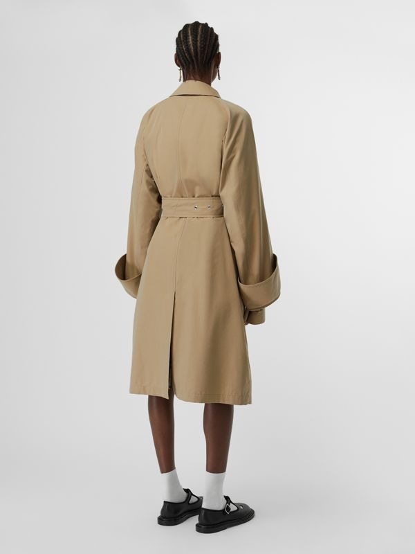 Exaggerated Cuff Cotton Gabardine Car Coat in Pale Honey - Women | Burberry - cell image 2