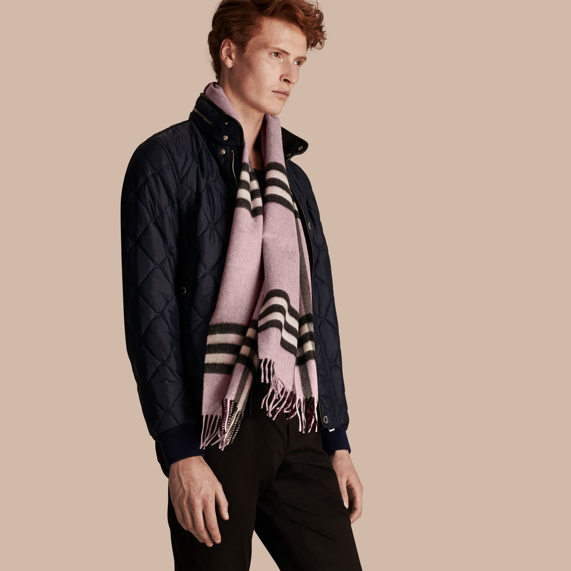 The Classic Cashmere Scarf in Check Dusty Lilac - gallery image 4
