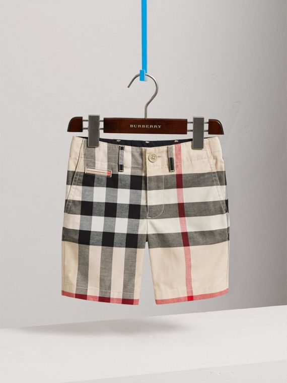 Check Cotton Chino Shorts in Stone - Boy | Burberry Singapore - cell image 2