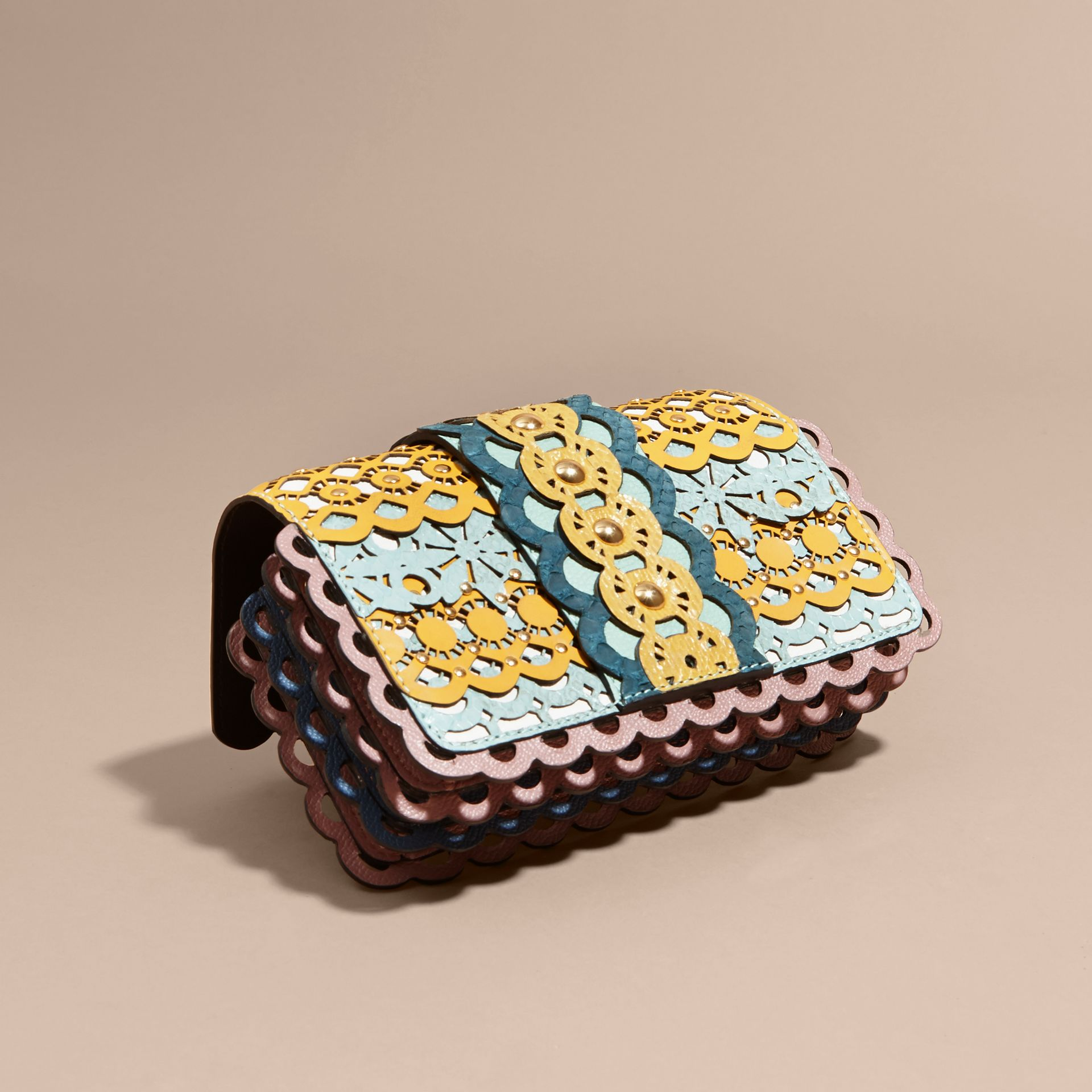 The Small Buckle Bag in Laser-cut Leather and Snakeskin - gallery image 3