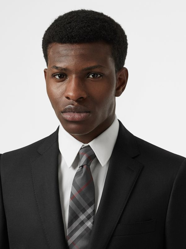 Modern Cut Vintage Check Silk Tie in Dark Charcoal - Men | Burberry Australia - cell image 2