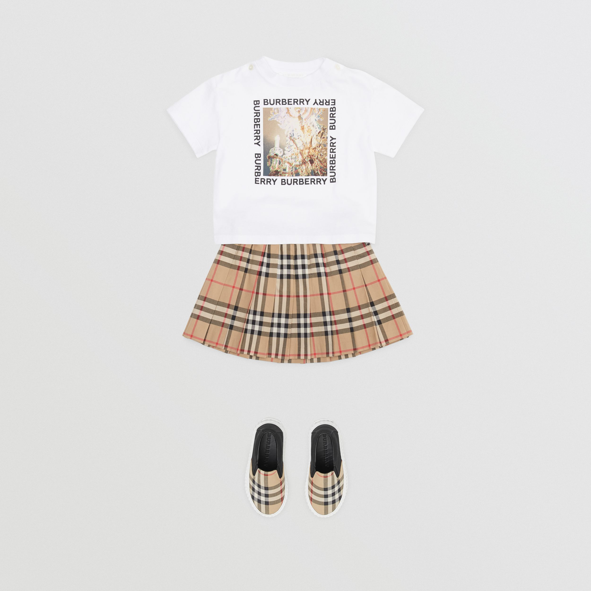 Vintage Check Cotton Pleated Skirt in Archive Beige - Children | Burberry - 3