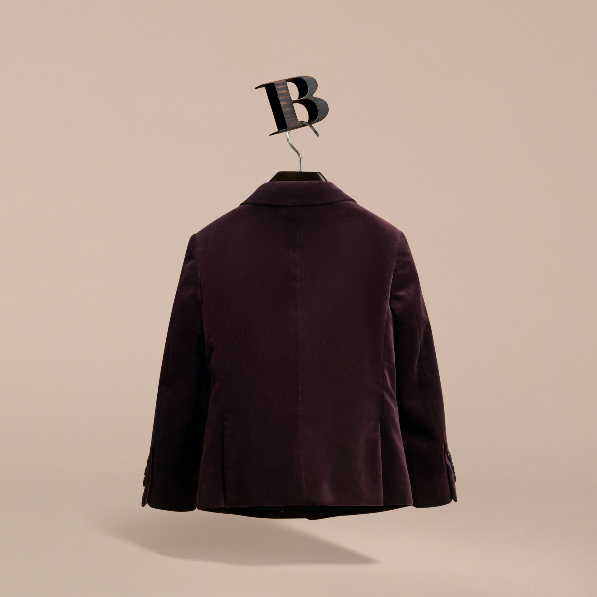 Tailored Velvet Blazer in Blackcurrant - Boy | Burberry Canada - gallery image 3