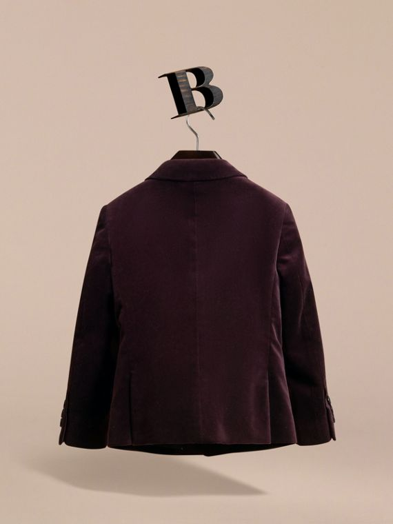 Tailored Velvet Blazer in Blackcurrant - Boy | Burberry - cell image 3