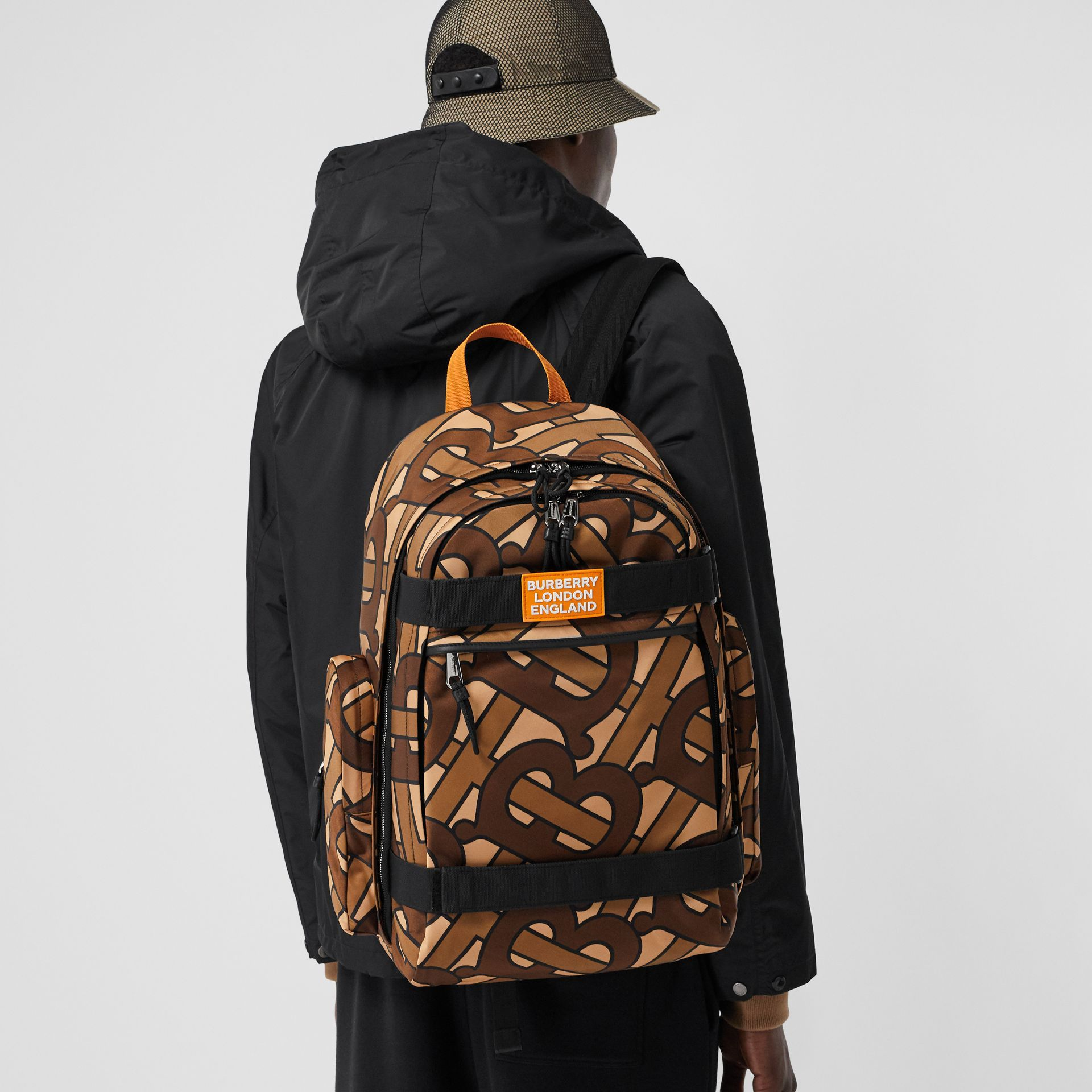 Large Leather Trim Monogram Print Nevis Backpack in Bridle Brown | Burberry United Kingdom - gallery image 3
