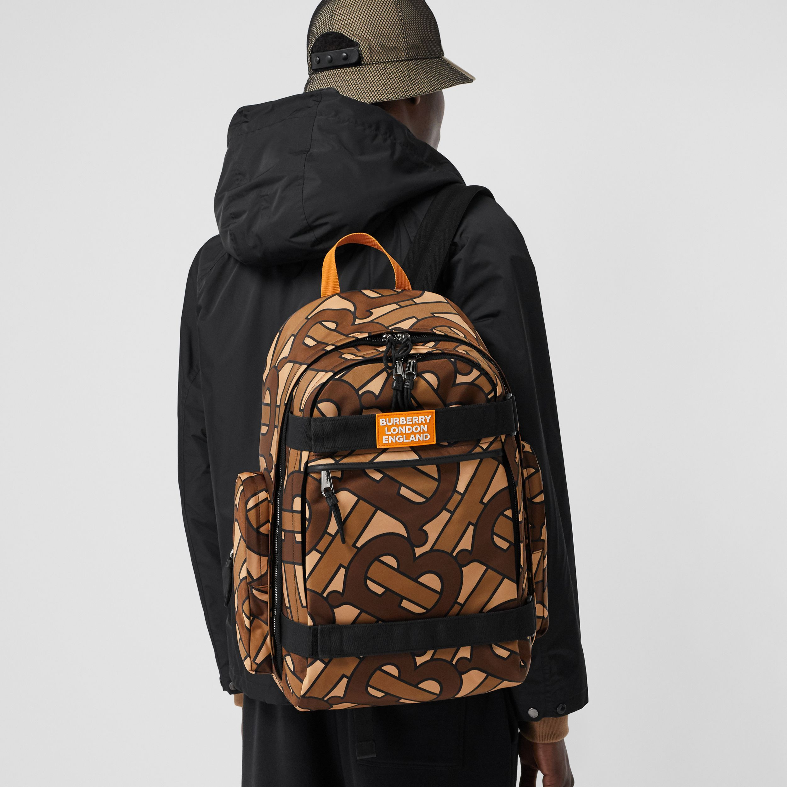 Large Leather Trim Monogram Print Nevis Backpack in Bridle Brown | Burberry - 4