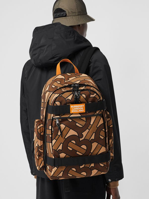 Large Leather Trim Monogram Print Nevis Backpack in Bridle Brown | Burberry - cell image 3