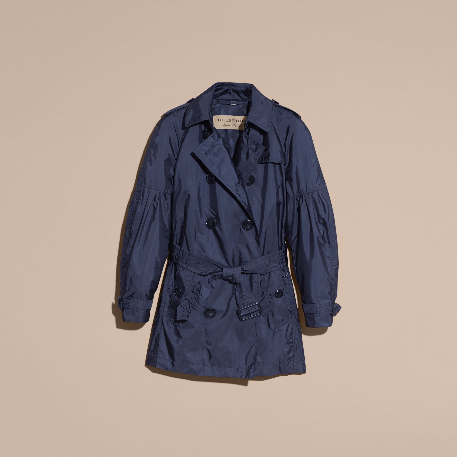 Packaway Trench Coat with Bell Sleeves in Navy - gallery image 4