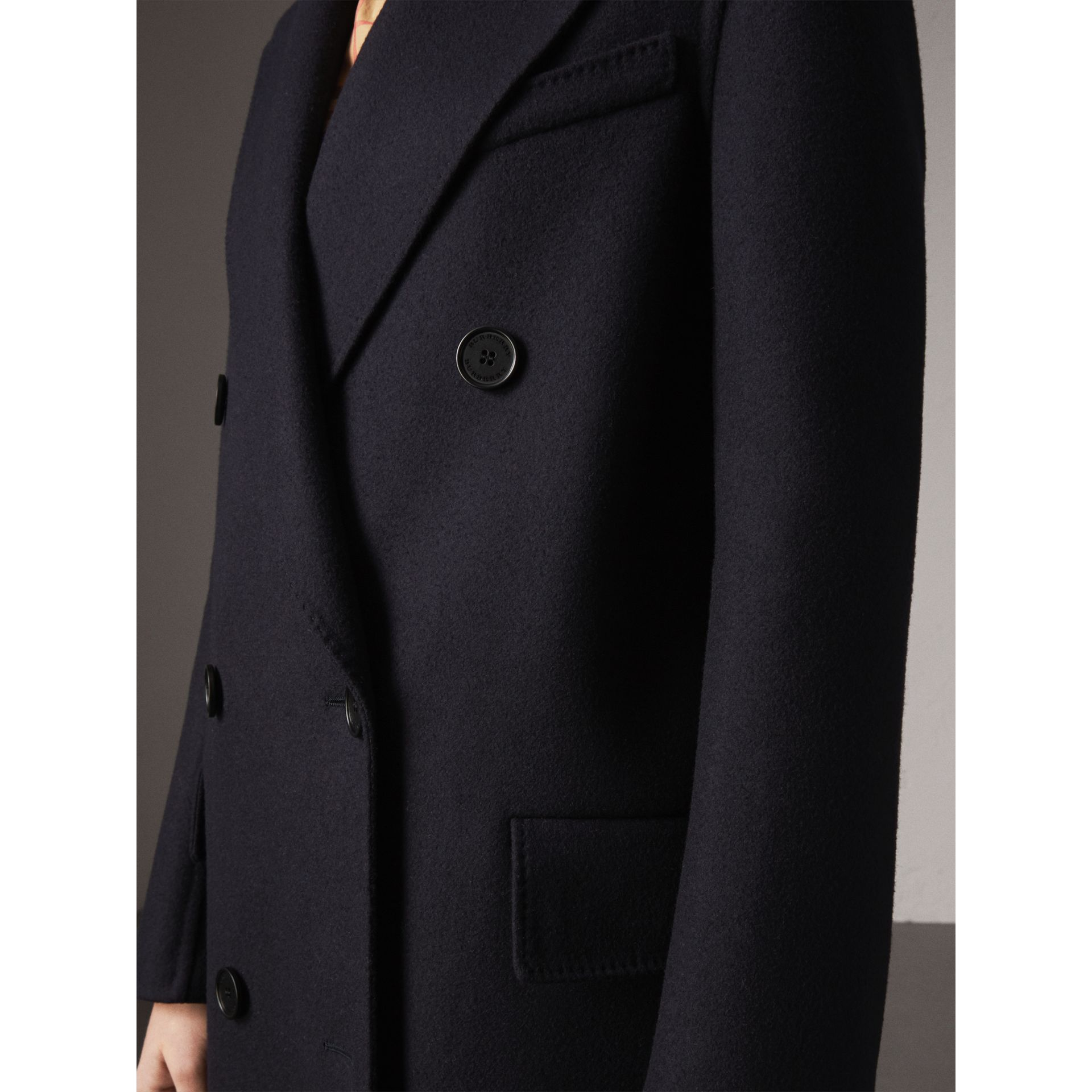 Felted Wool Double-breasted Coat in Navy - Women | Burberry - gallery image 2