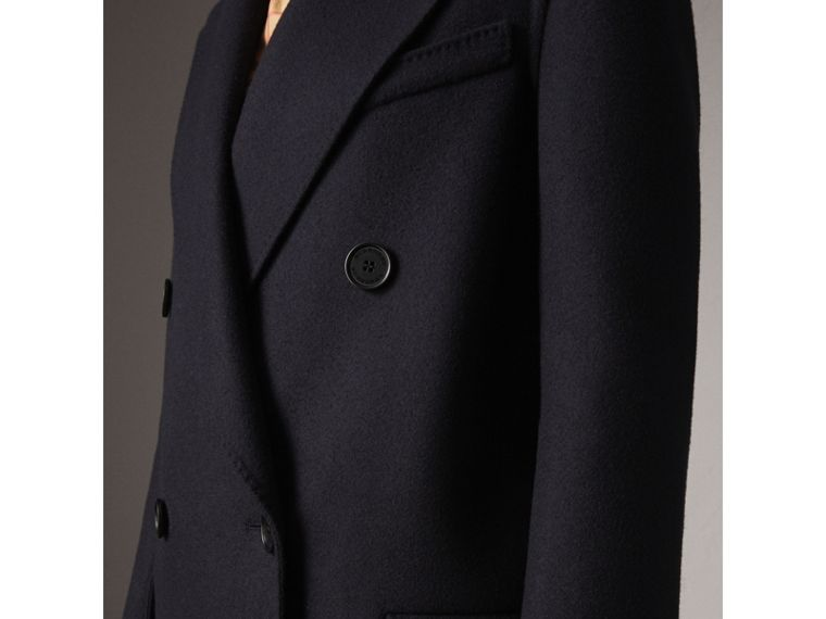 Felted Wool Double-breasted Coat in Navy - Women | Burberry United States - cell image 1