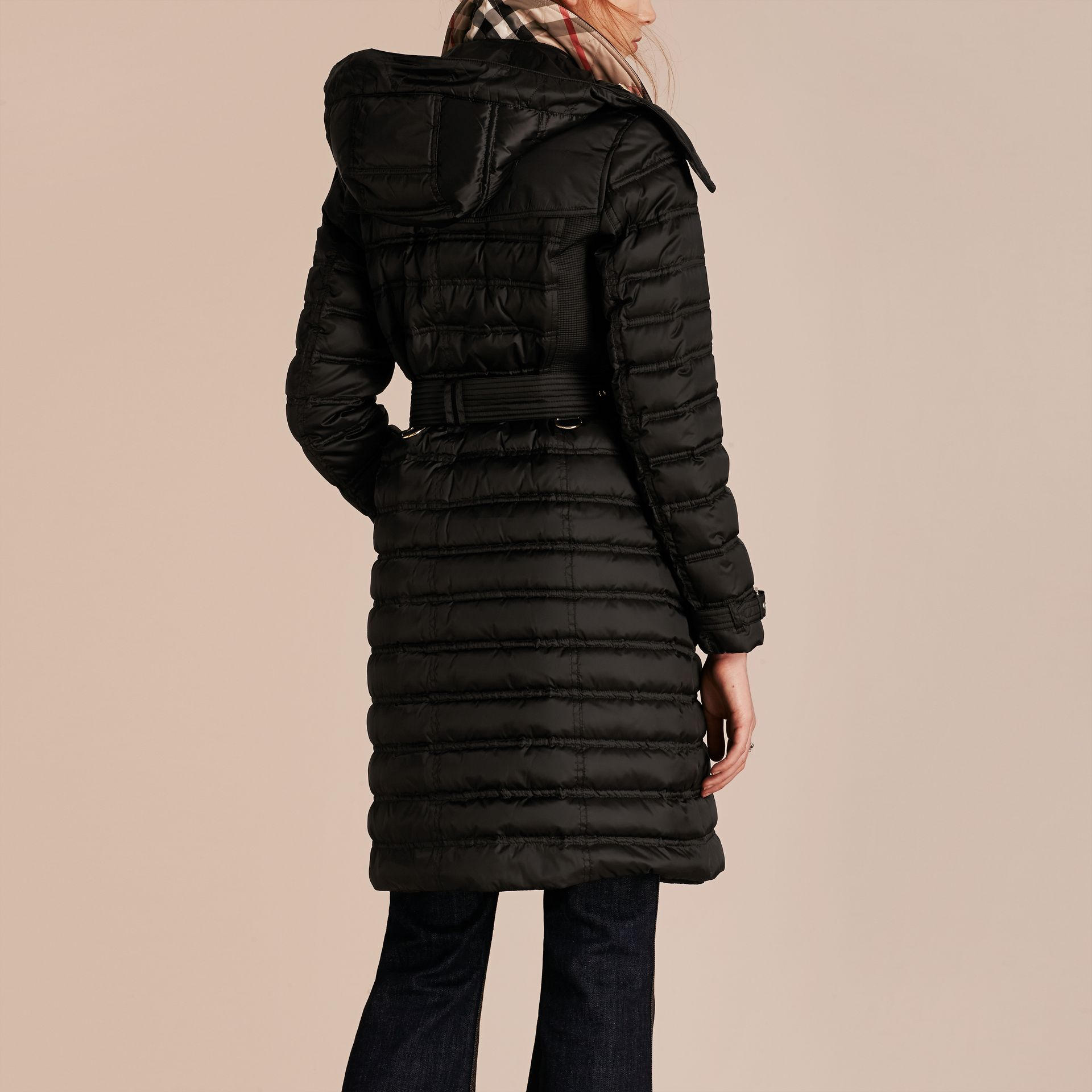 Black Down-filled Puffer Coat with Detachable Hood Black - gallery image 3