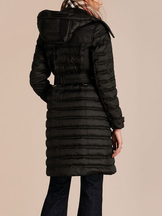 Black Down-filled Puffer Coat with Detachable Hood Black - cell image 2