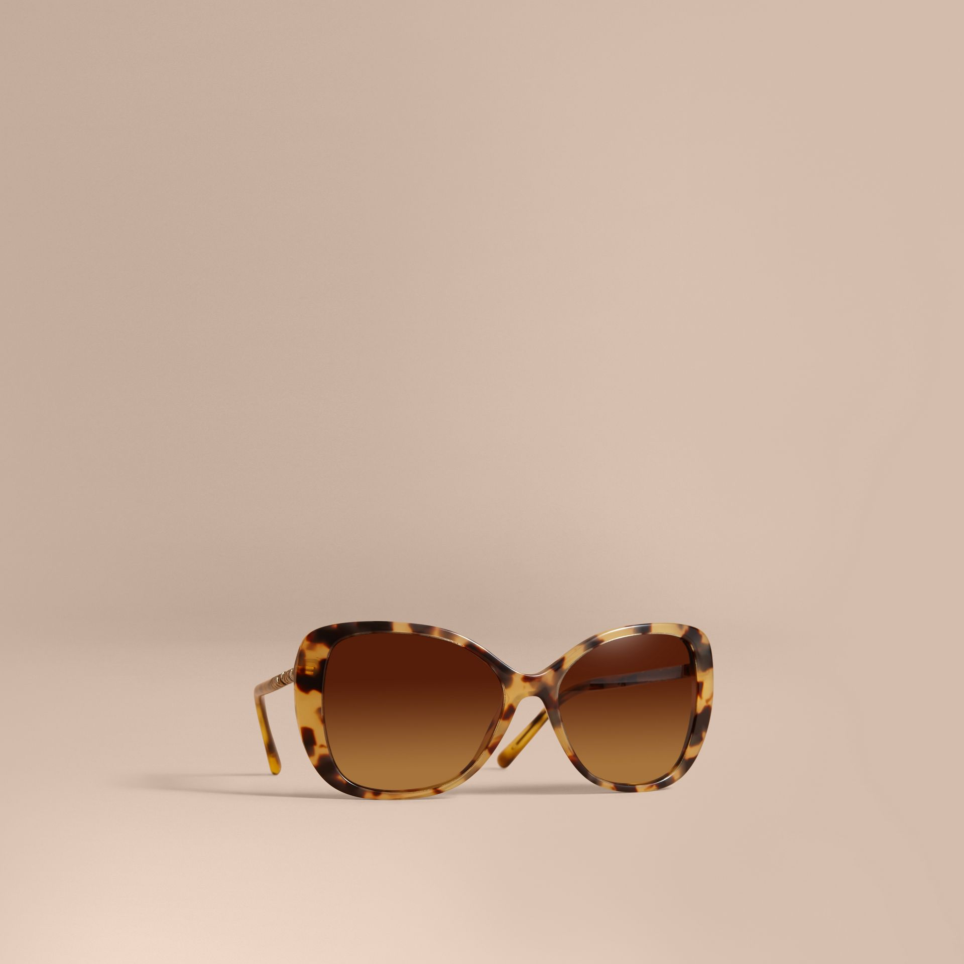 Check Detail Butterfly Frame Sunglasses Umber Yellow - gallery image 1