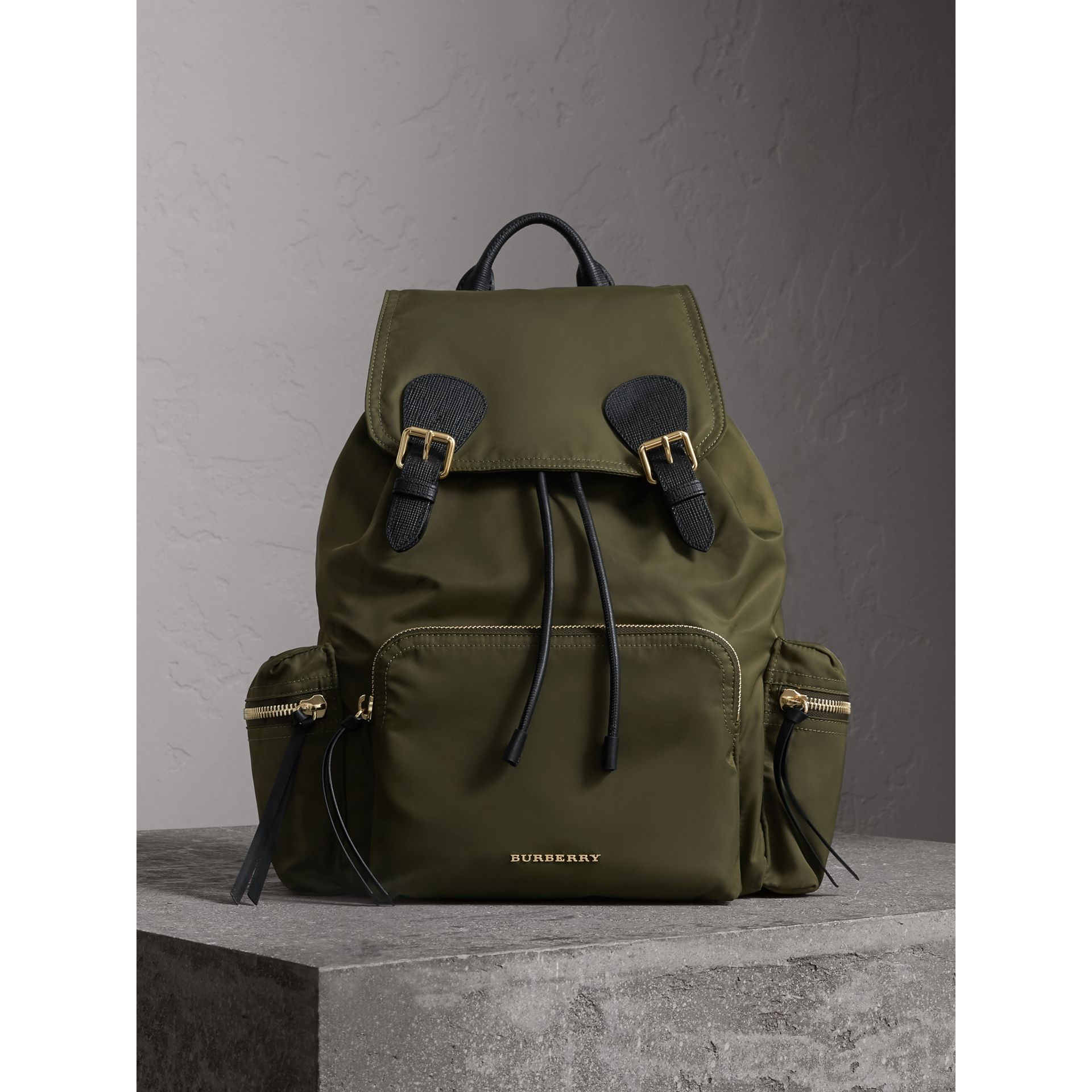 The Large Rucksack in Technical Nylon and Leather in Canvas Green - Women | Burberry - gallery image 7