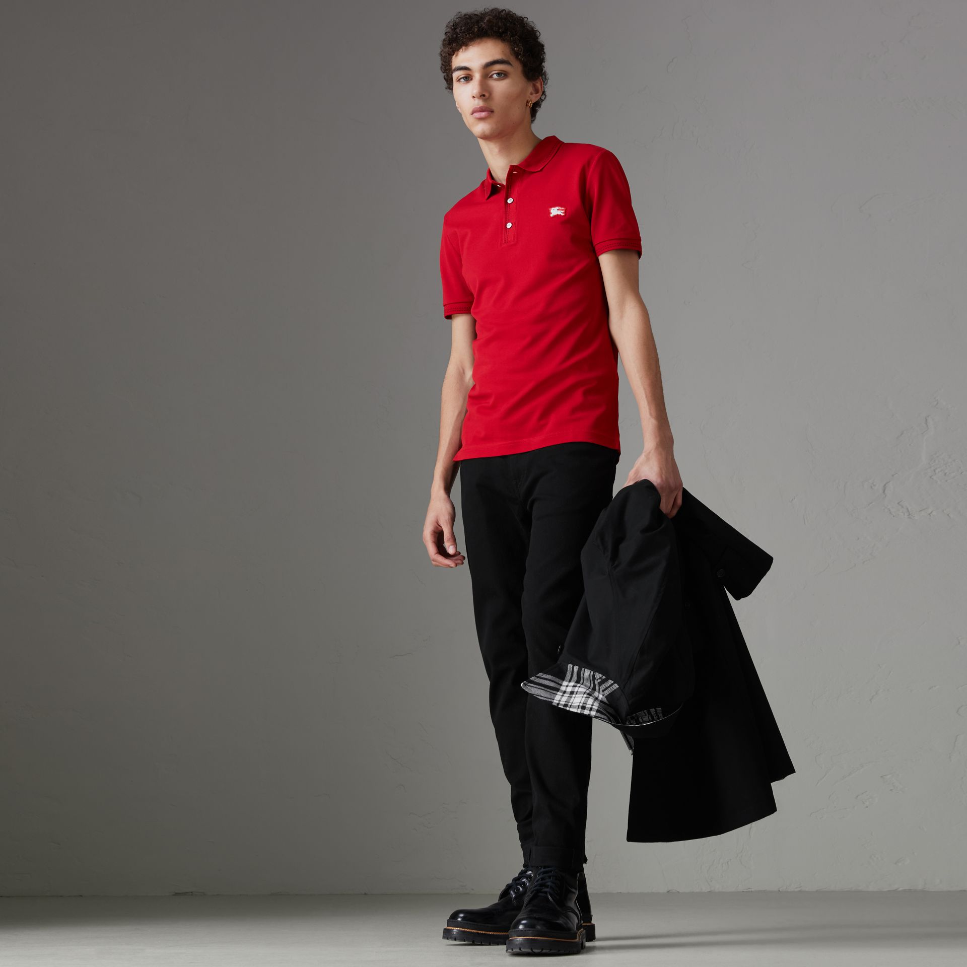 Cotton Piqué Polo Shirt in Military Red - Men | Burberry - gallery image 0