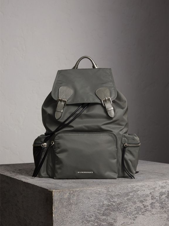 The Medium Rucksack in Technical Nylon and Leather in Dark Grey/dark Grey - Women | Burberry - cell image 1