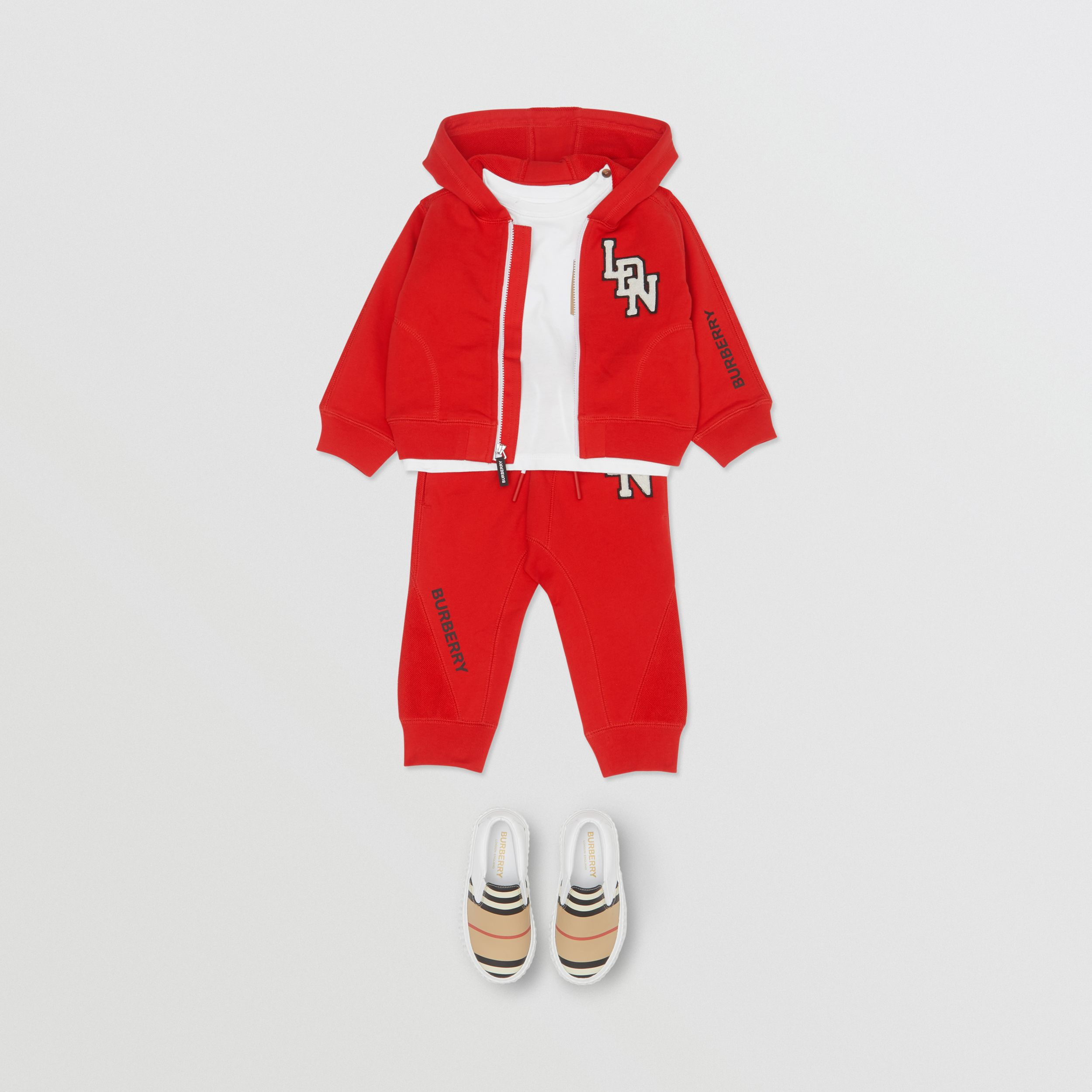 Logo Graphic Cotton Hooded Top in Bright Red - Children | Burberry United States - 3