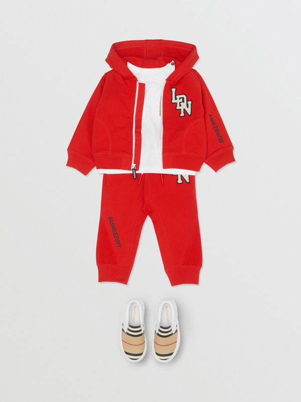 Logo Graphic Cotton Hooded Top in Bright Red - Children | Burberry United Kingdom - cell image 2