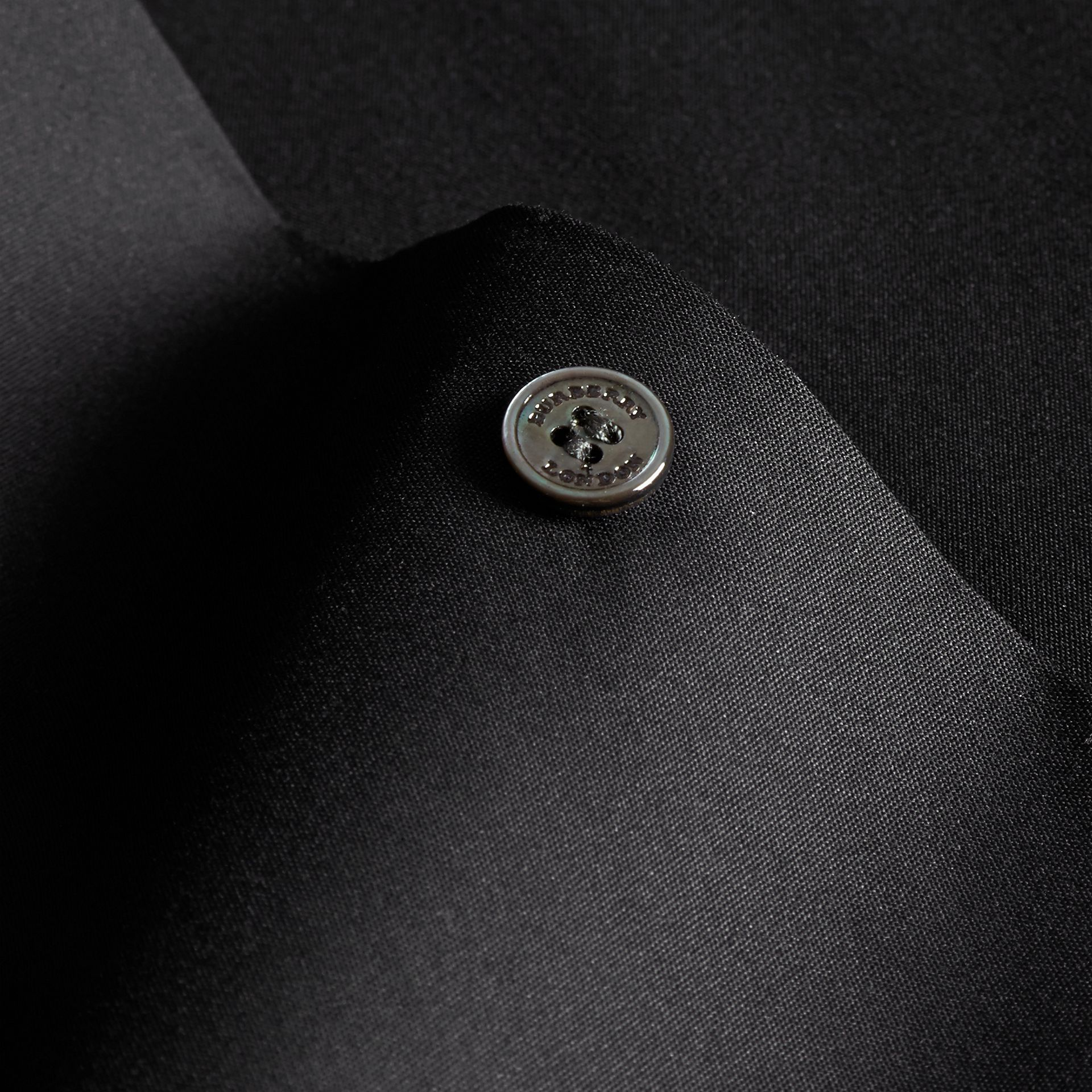 Slim Fit Stretch Cotton Shirt in Black - Men | Burberry - gallery image 2
