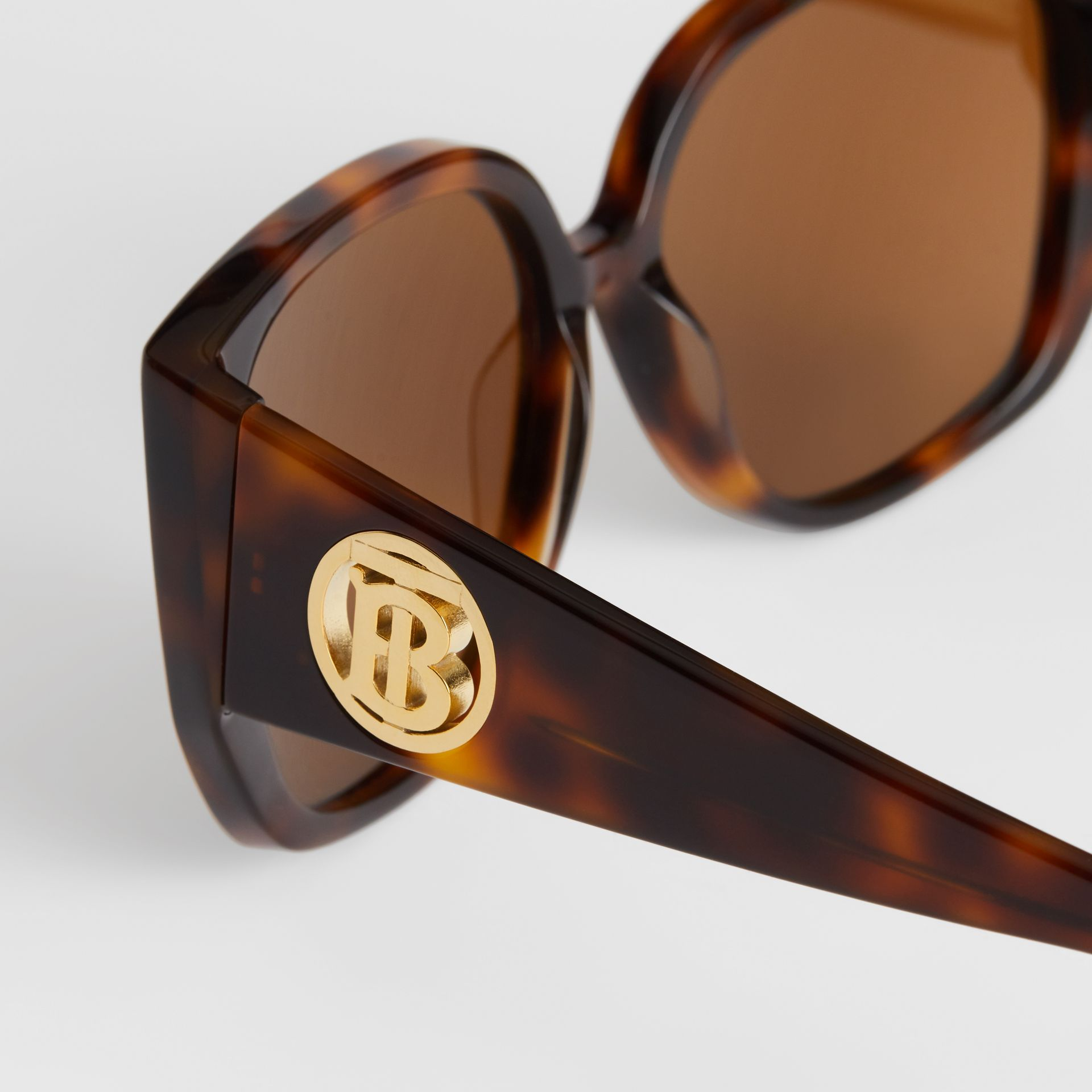 Monogram Detail Round Frame Sunglasses in Tortoise Shell - Women | Burberry Australia - gallery image 1