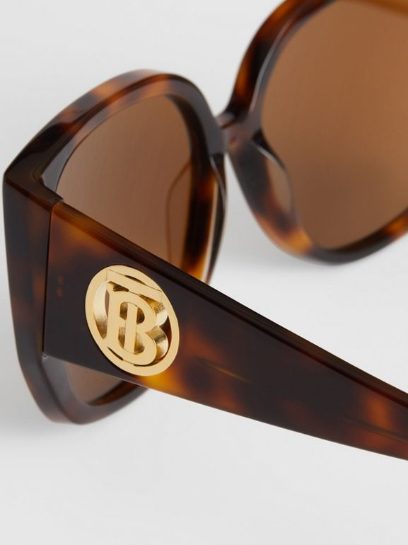 Monogram Detail Round Frame Sunglasses in Tortoise Shell - Women | Burberry - cell image 1