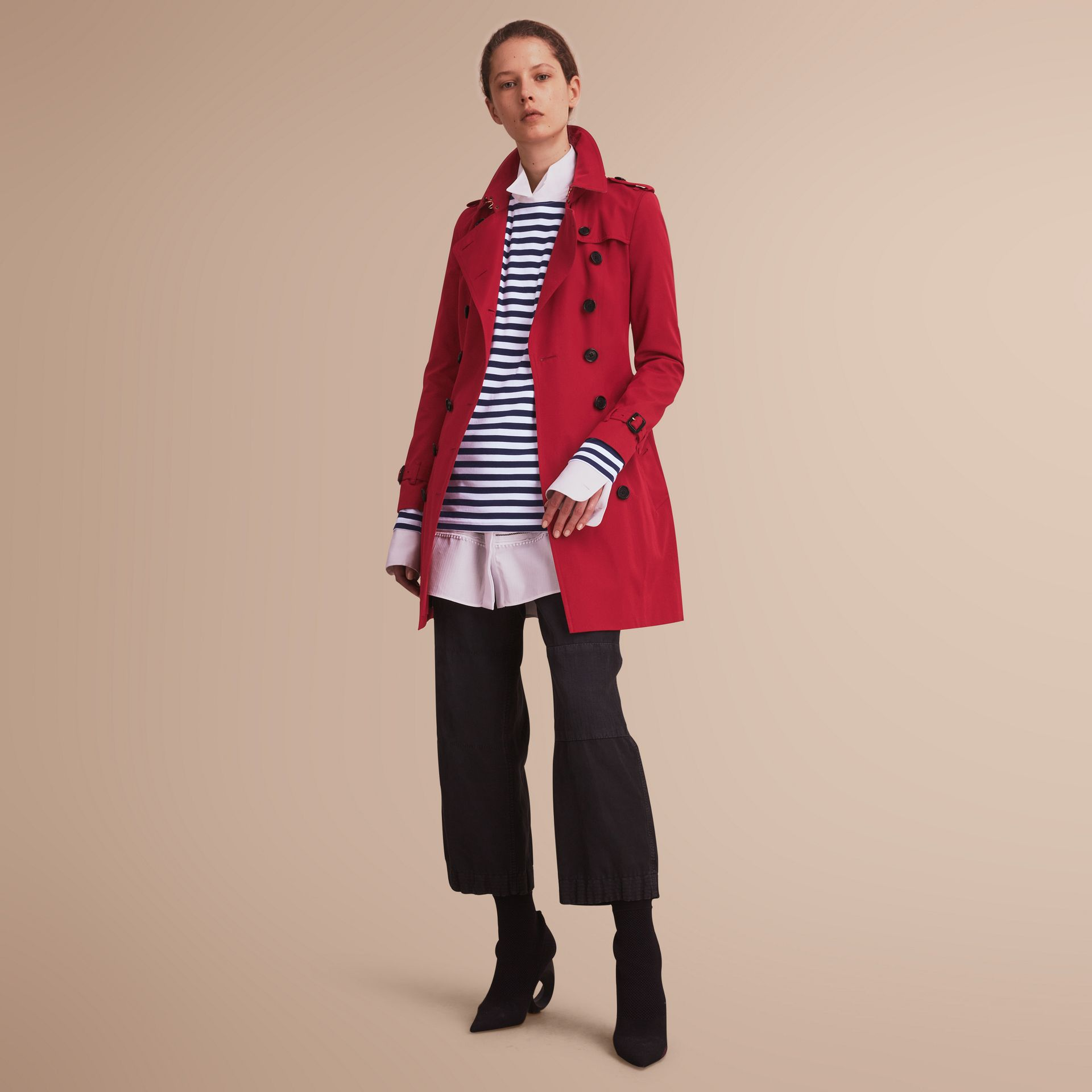 The Chelsea – Mid-length Heritage Trench Coat in Parade Red - gallery image 7