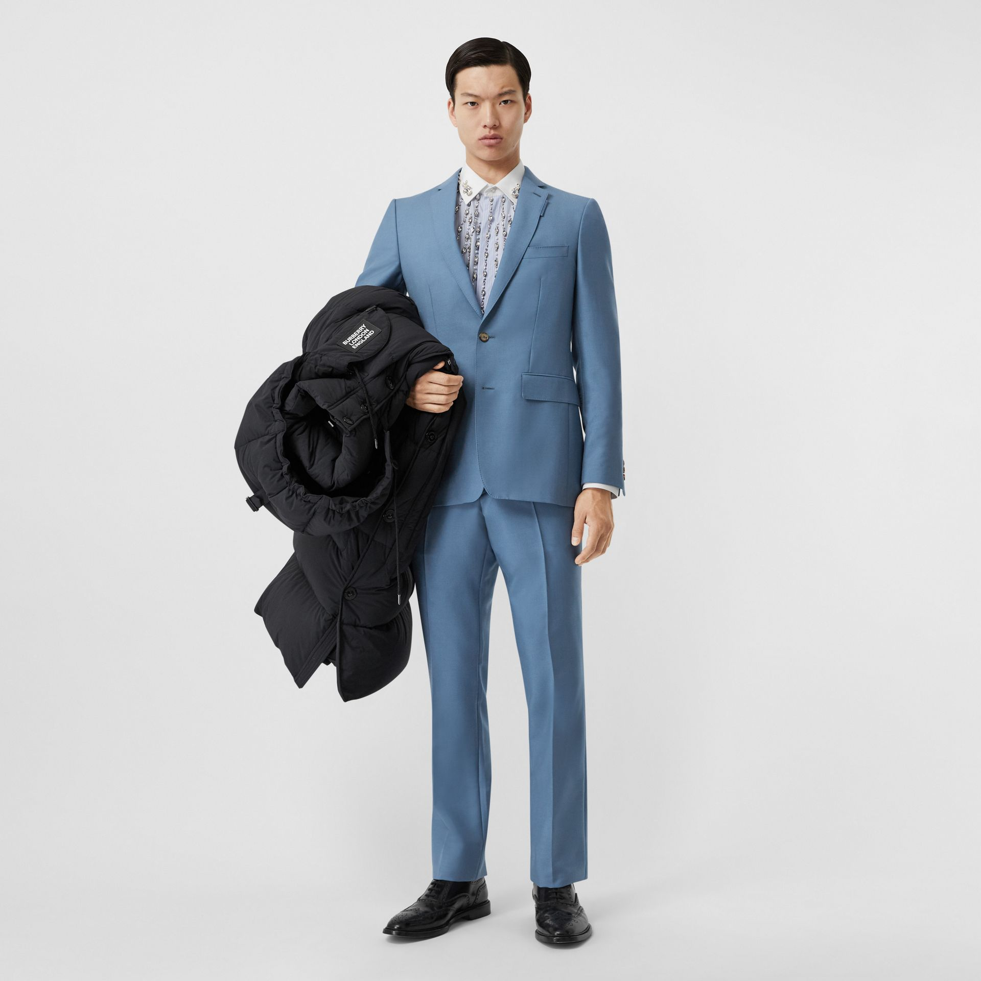 Пиджак в английском стиле из шерсти и мохера (Стальной Синий) - Для мужчин | Burberry - изображение 5