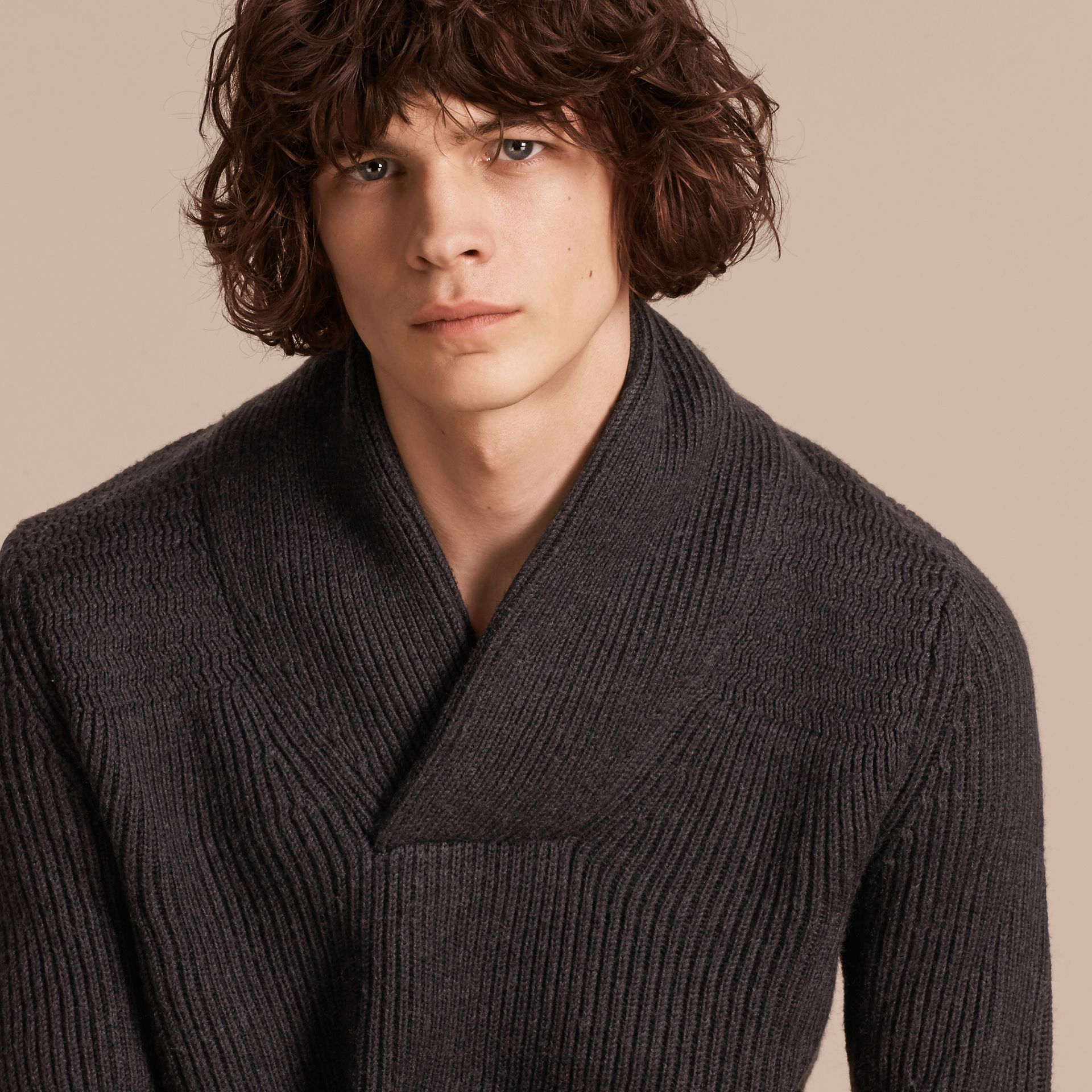 Charcoal Shawl Collar Ribbed Wool Silk Sweater - gallery image 5