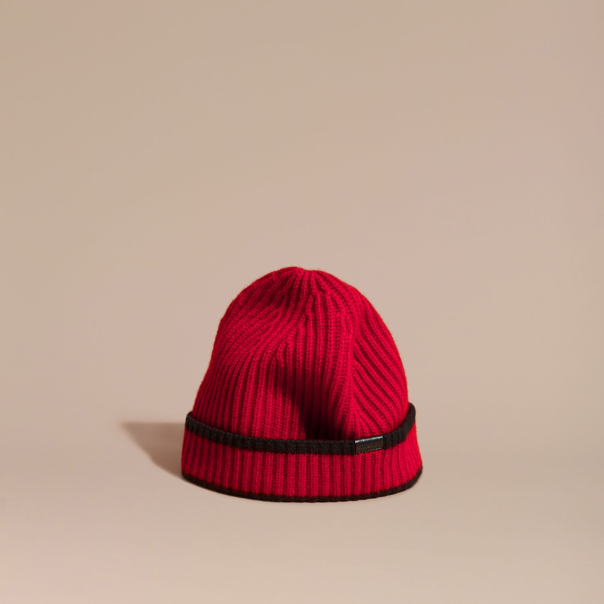 Parade red/black Ribbed Cashmere Tipped Beanie - gallery image 1