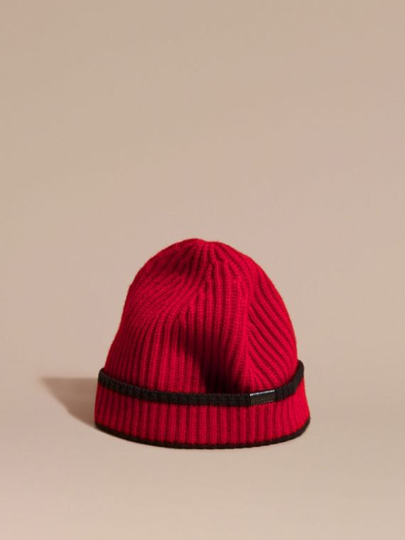 Ribbed Cashmere Tipped Beanie Parade Red/black