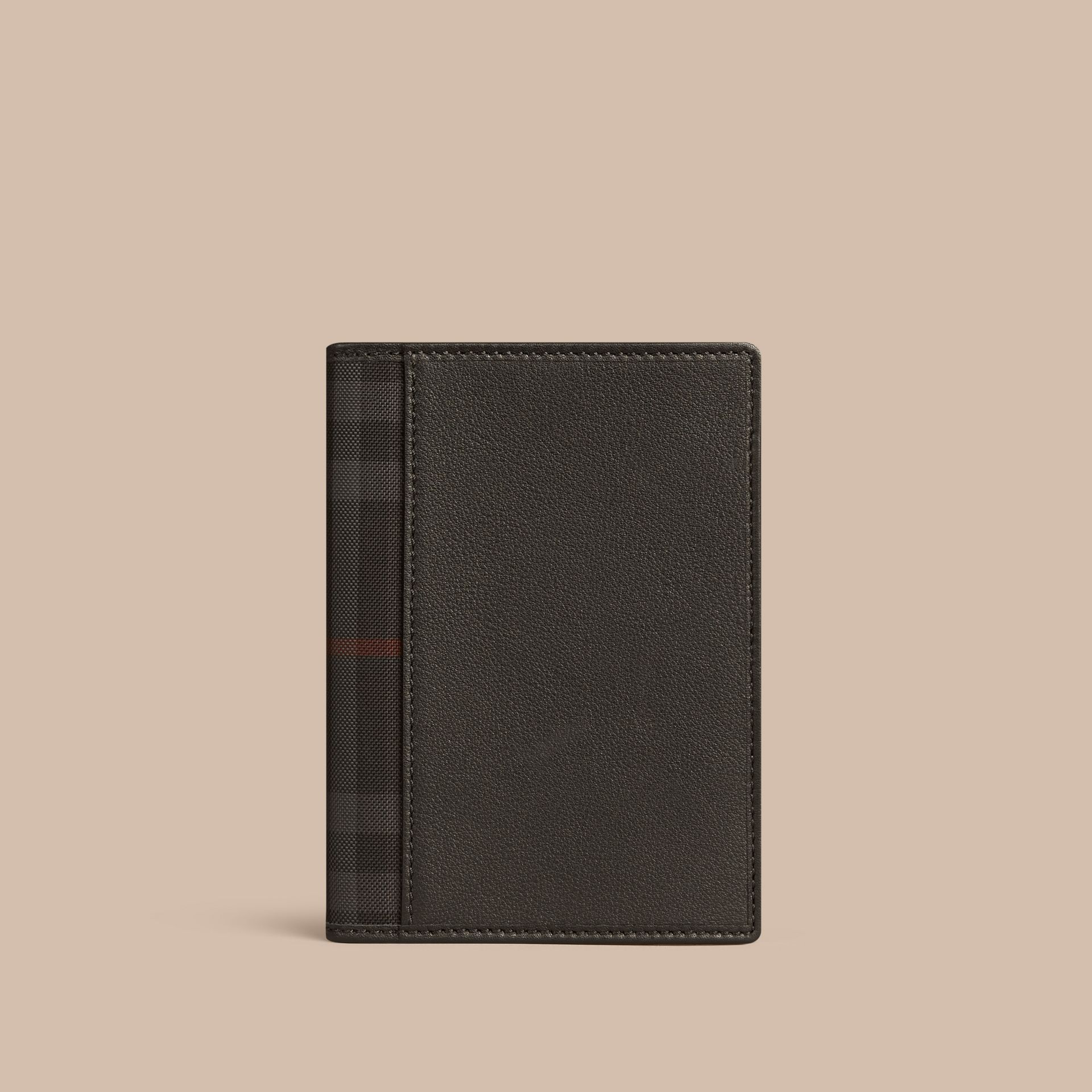 Black Check Detail Leather Passport Cover Black - gallery image 1