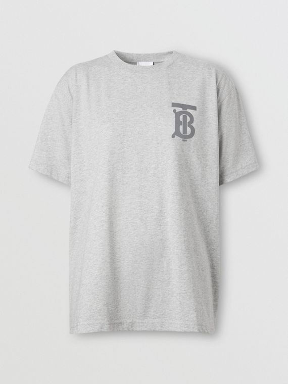 Monogram Motif Cotton Oversized T-shirt in Pale Grey Melange