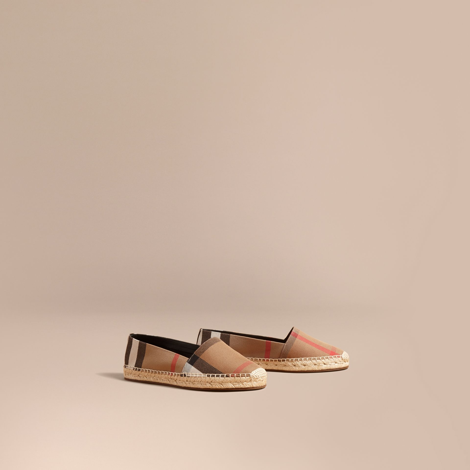 Leather Trim Canvas Check Espadrilles in Classic - Women | Burberry - gallery image 0