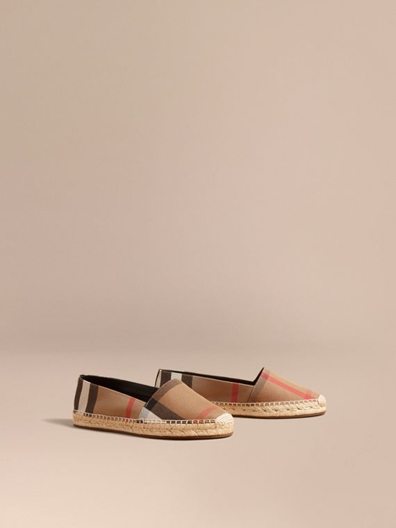 Leather Trim Canvas Check Espadrilles in Classic