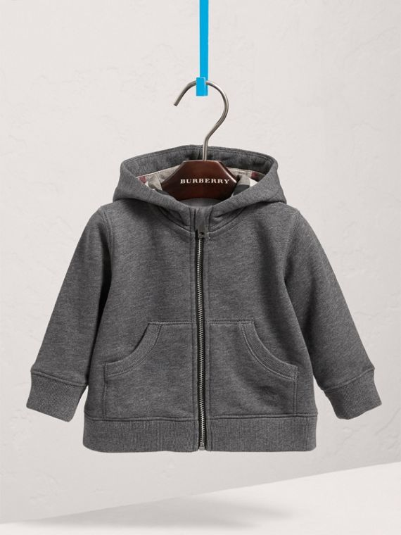 Check Detail Hooded Cotton Top in Charcoal Melange