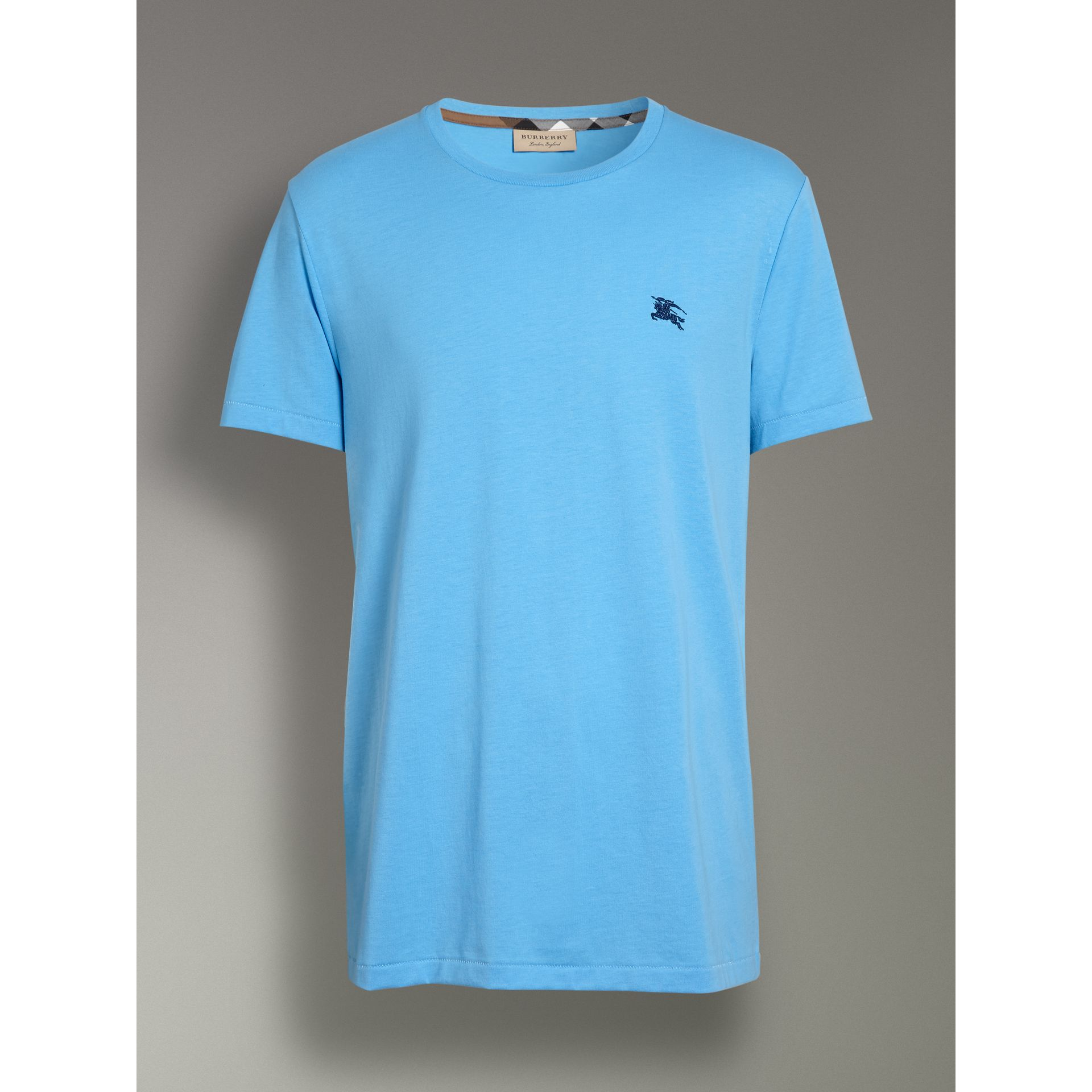 Cotton Jersey T-shirt in Blue Topaz - Men | Burberry - gallery image 3