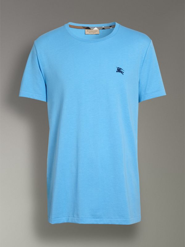 Cotton Jersey T-shirt in Blue Topaz - Men | Burberry - cell image 3
