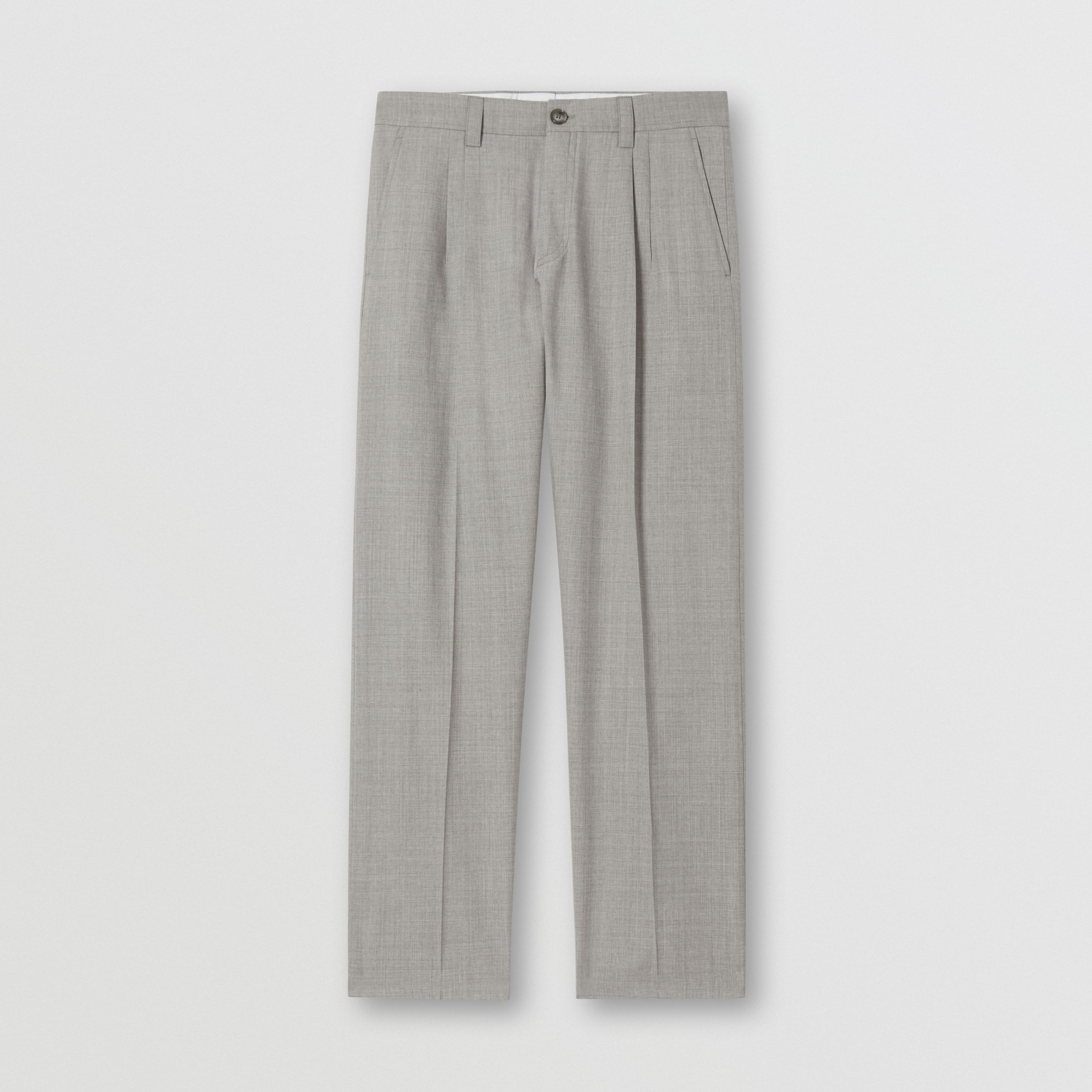 Logo Wool Jacquard Tailored Trousers in Light Pebble Grey - Men | Burberry - 4