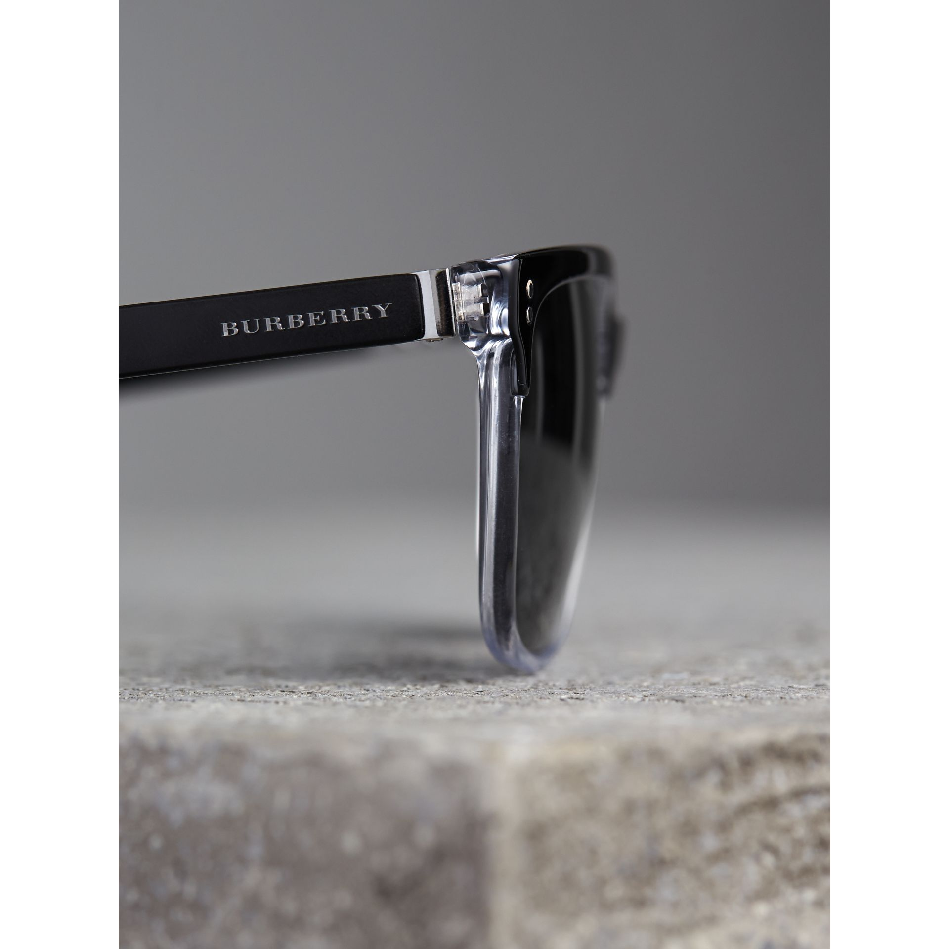 Square Frame Sunglasses in Black - Men | Burberry United States - gallery image 2