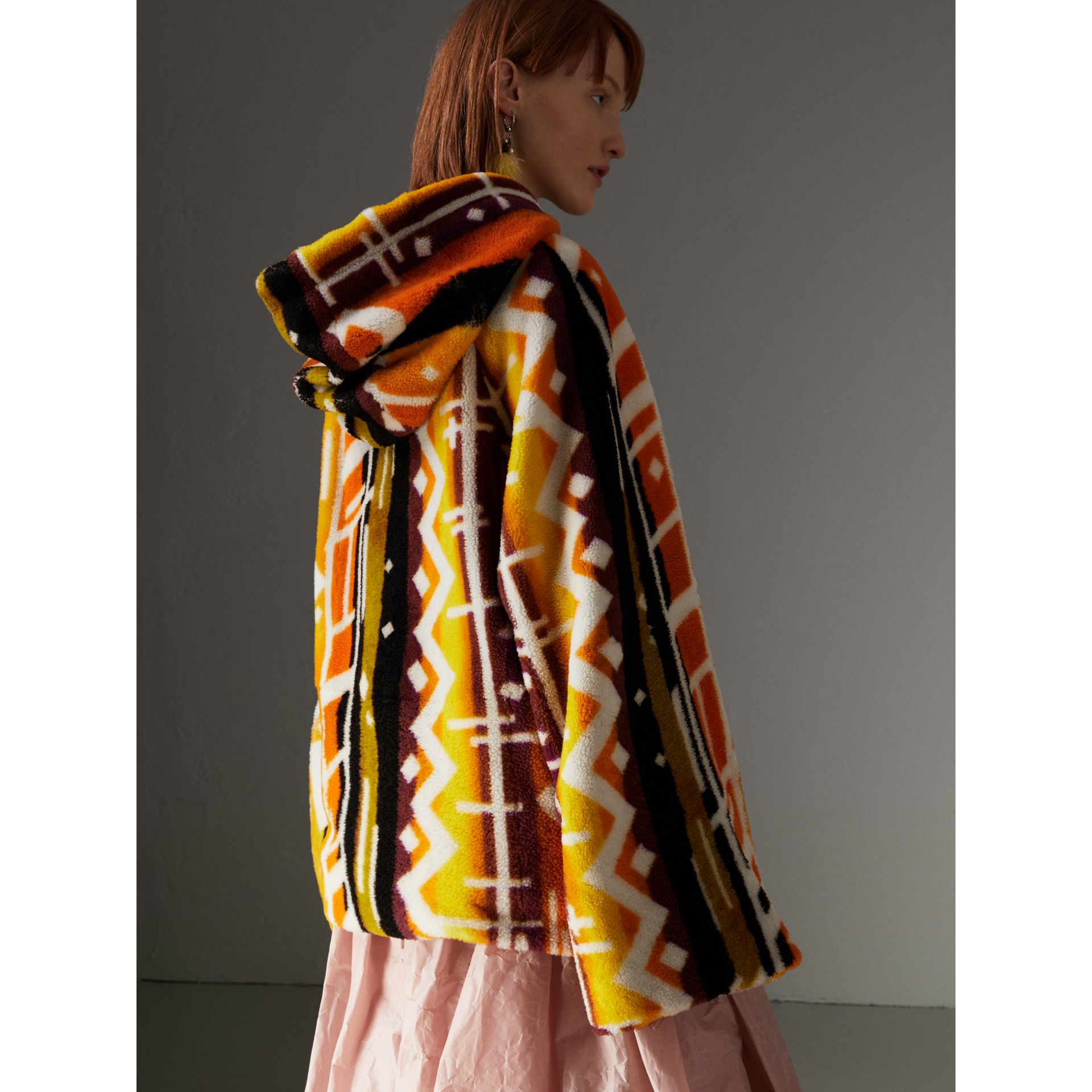 Clash Print Shearling Hoodie in Yellow - Women | Burberry - gallery image 2