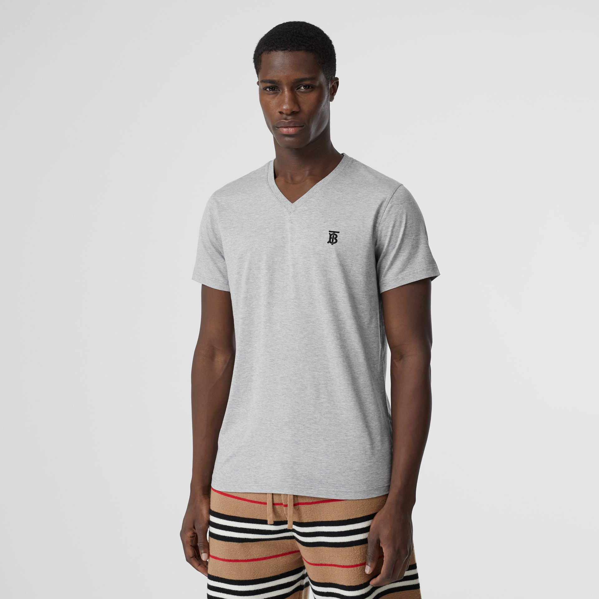 Monogram Motif Cotton V-neck T-shirt in Pale Grey Melange - Men | Burberry United Kingdom - gallery image 0